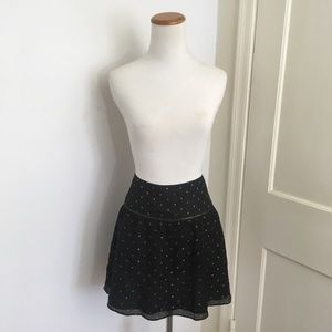 Anthropologie Lauren Moffatt Gold Polka Dot Skirt